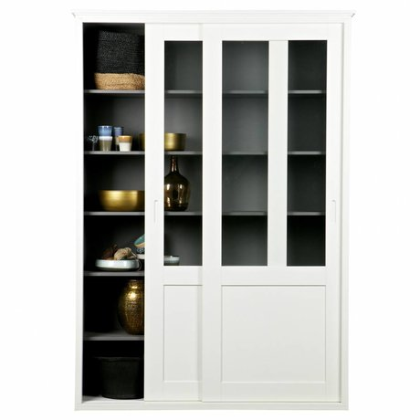LEF collections Sliding door closet Vince white pine wood 147x46x208cm