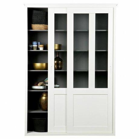 LEF collections Sliding door closet Vince white pine wood 147x46x208cm
