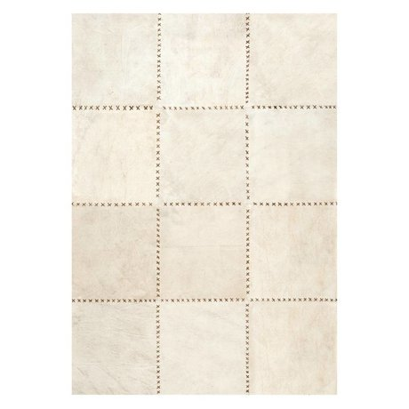 LEF collections Rug Canvas beige brown canvas leather in 3 sizes