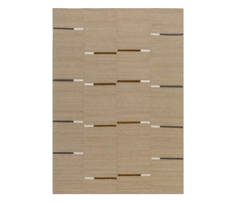 LEF collections Mallow beige brown carpet kilim in 3 sizes