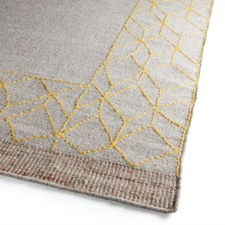 LEF collections Rug Mantua yellow beige wool acrylic in 3 sizes