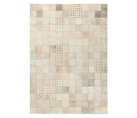 LEF collections Olympus carpet beige brown leather 3 sizes
