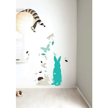 KEK Amsterdam Wall Sticker set 'Rabbit XL BOYS' blue / brown vinyl