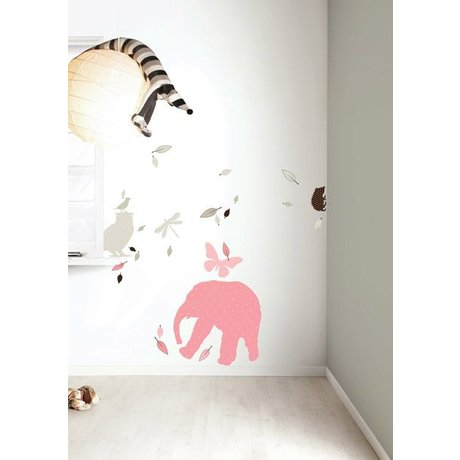 KEK Amsterdam Wall Sticker Set 'Elephant XL GIRLS' pink / braun Vinyl