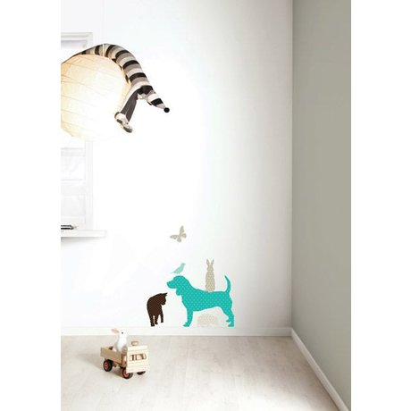 KEK Amsterdam Wall Sticker set 'Dog BOYS' blue / brown vinyl