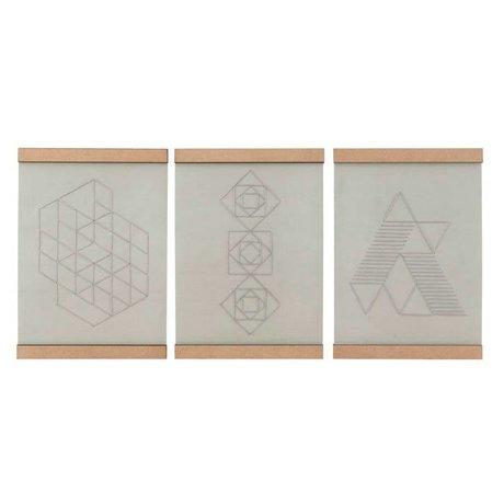 Housedoctor Ecole de broderie Plate ensemble de trois coton blanc naturel bois 21x30cm
