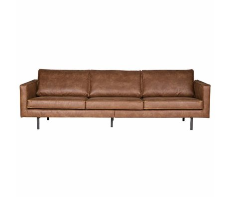 BePureHome Sofa Rodeo 3-seat cognac brown leather 78x274x87cm