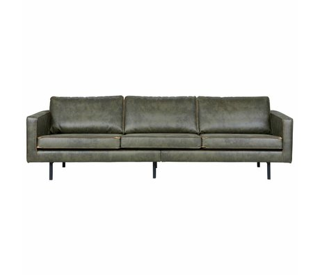 BePureHome Sofa Rodeo 3-seat army green leather 85x277x86cm