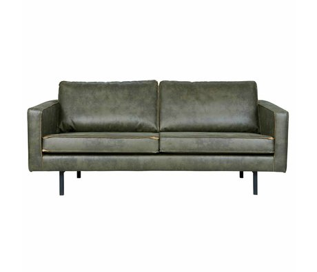BePureHome Sofa Rodeo 2.5-seat army green leather 190x86x85cm
