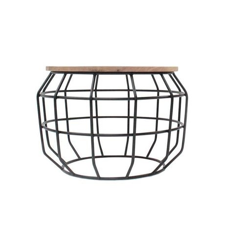 LEF collections Pixel coffee table black metal timber 56x56x38cm