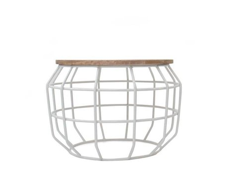 LEF collections Coffee table Pixel white metal timber 56x56x38cm