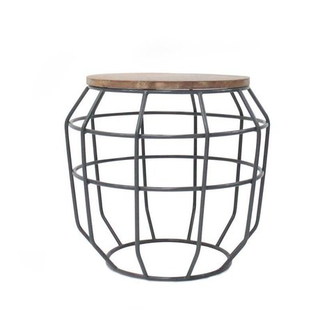 LEF collections Coffee table Pixel gray metal timber 51x51x46cm
