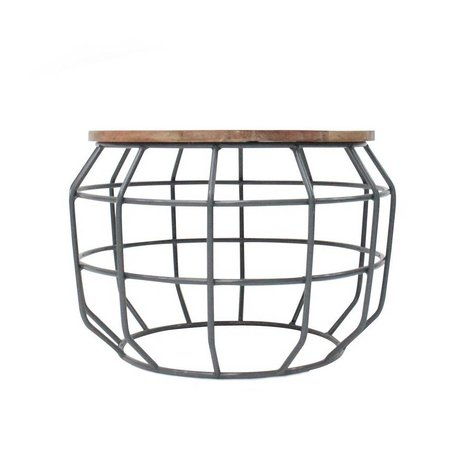 LEF collections Coffee table Pixel gray metal timber 56x56x38cm