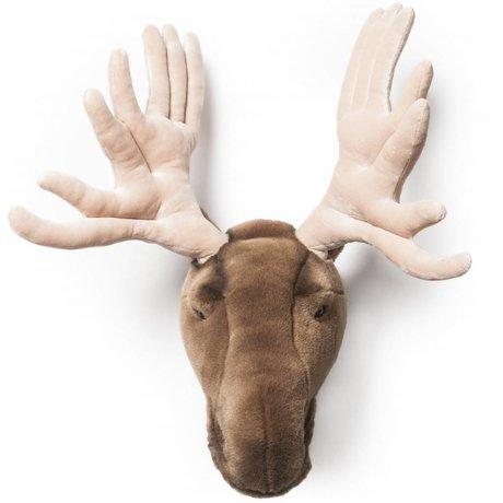 Wild and Soft Dierenkop eland Alfred bruin textiel groot 35x40x50cm