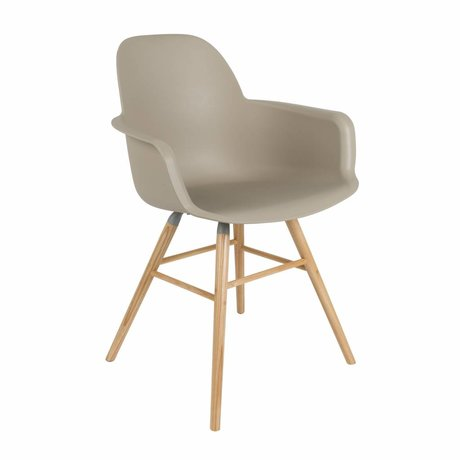 Zuiver Dining chair Albert Kuip plastic timber brown 62x56x61cm