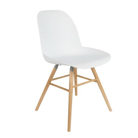 Zuiver Dining chair Albert Kuip white plastic timber 51x49x60cm