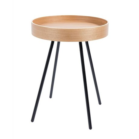 Zuiver Bijzettafel Oak hout, staal bruin, zwart  Ø46,5×55,5cm