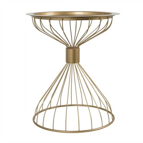 Zuiver Side table Kelly tray gold, metal gold Ø50x57cm
