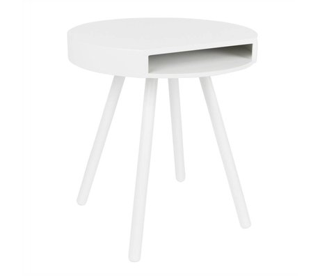 Zuiver Occasional table Hide and seek white, wood white Ø46x50cm