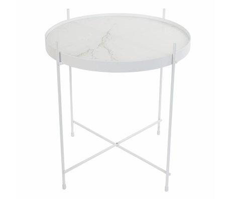 Zuiver Table d'appoint en marbre Cupidon blanc, métal Ø43x45cm blanc