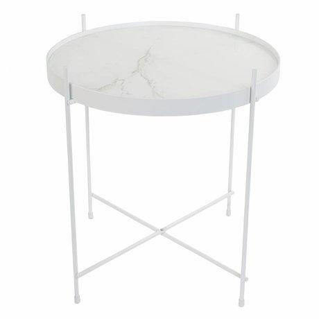 Zuiver Bijzettafel Cupid marble white, metaal wit Ø43x45cm