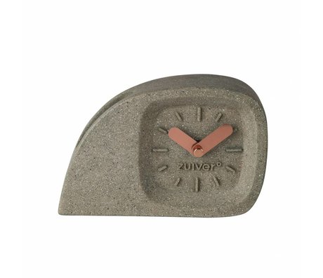 Zuiver Time clock Doblo gray plastic with brass dials 15.5 × 4.5 × 10.5cm