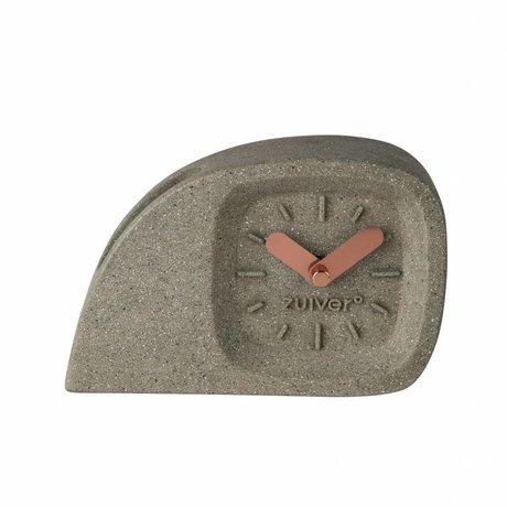 Zuiver Klok Doblo Time kunststof grijs met koperen wijzers 15,5×4,5×10,5cm