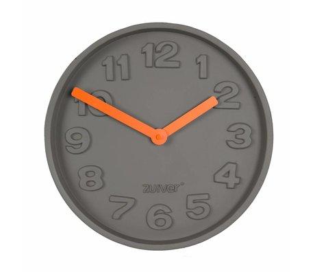 Zuiver Béton Time Clock orange, gris avec des pointeurs en aluminium orange 31,6x31,6x5cm