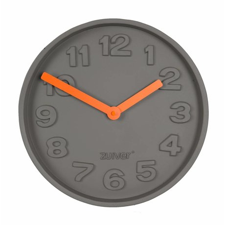Zuiver Concrete Time Clock orange, gray with aluminum orange pointers 31,6x31,6x5cm