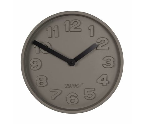Zuiver Béton noir Horloge temps, gris aluminium avec les mains noires 31,6x31,6x5cm