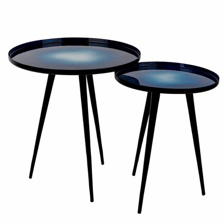 Zuiver Occasional table Flow set of 2 iron black 31x31x40cm