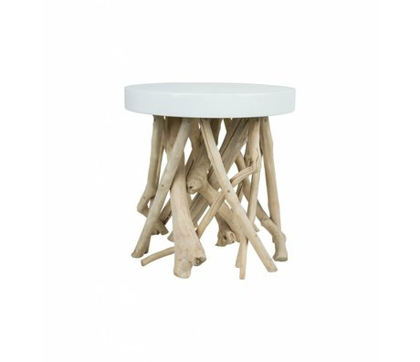 Zuiver Occasional table Cumi wood white Ø46x50cm