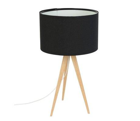 Zuiver Tafellamp Tripod hout, textiel zwart 28x51cm