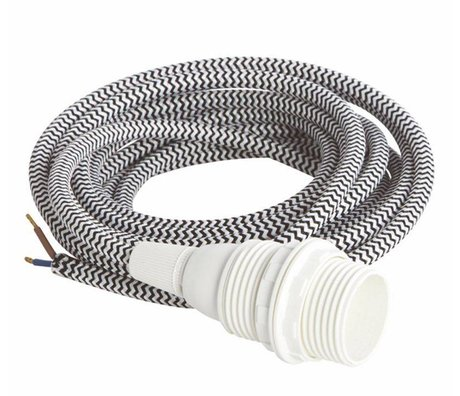 Housedoctor Electrical cord with E14, white / black fabric, white small bakelite socket, iron cord 3meter