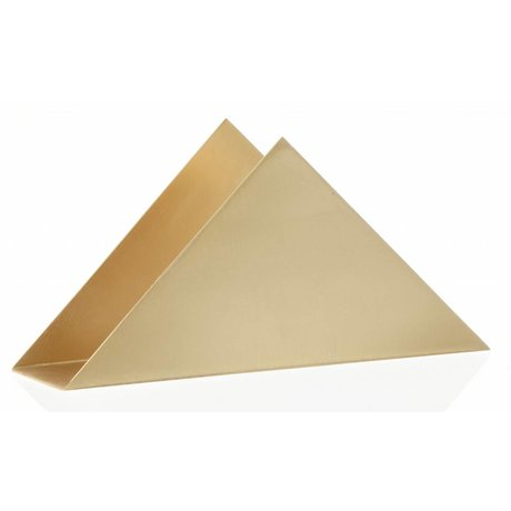 Ferm Living Napkin holder Brass Triangle stand brass metal with frosted polisch 17x8.5x4.5cm