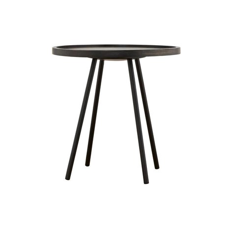 Housedoctor Occasional table Juco black metal timber ø50x50cm