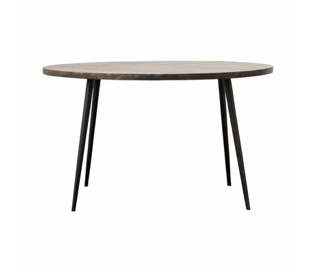 Housedoctor Club table brown metal timber Ø130x76cm