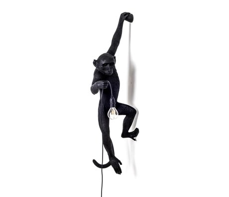 Seletti Wall lamp The Monkey black plastic 37x20,5x76,5cm