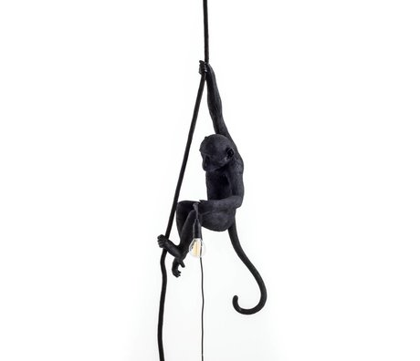 Seletti La lampe de singe suspendu en nylon noir 27x30x80cm