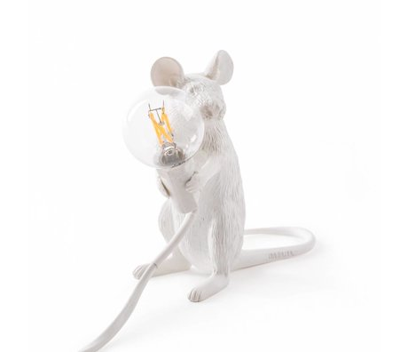 Seletti Tischlampe Mouse weiß Kunststoff 6,2x15x12cm