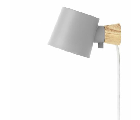 Normann Copenhagen Wall lamp Rise gray metal timber 9,7x17x10cm