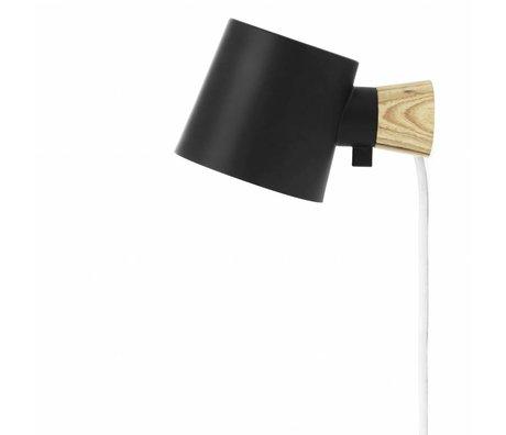 Normann Copenhagen Wandlamp Rise zwart metaal hout 9,7x17x10cm