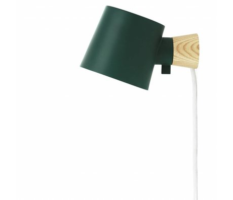 Normann Copenhagen Wall lamp Rise green metal timber 9,7x17x10cm