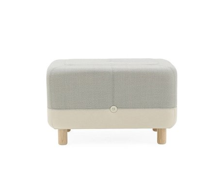 Normann Copenhagen Poef Sumo light gray textile wood 65x45x40cm