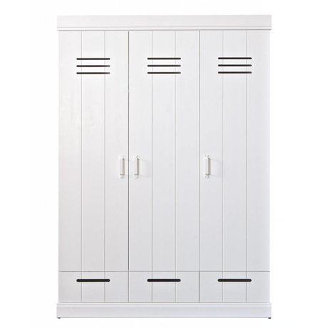 LEF collections Kledingkast 'Connect' 3 deurs lockerdeur met lades wit grenen 140x53x195cm