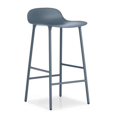 Normann Copenhagen Barstool Form blue plastic steel 77x42,5x42,5cm