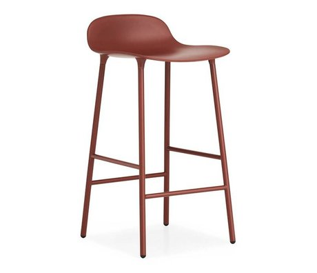 Normann Copenhagen Barstool Form red plastic steel 77x42,5x42,5cm