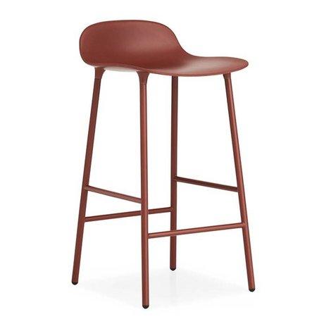 Normann Copenhagen Barstool Form red plastic steel 87x44x44cm