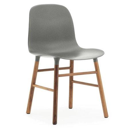 Normann Copenhagen Form gray plastic chair walnut wood 78x48x52cm