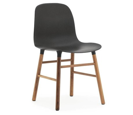 Normann Copenhagen Form gray plastic chair walnut wood 78x48x52cm - Copy